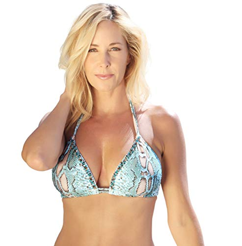 Beach Candy Swimwear Alexa Extreme Support Classic Triangle Top - Engineered for A - E Cup (Aqua Snake, Medium (C Cup))