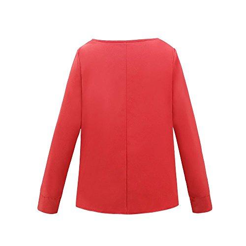 Nouvelle Chic Red Blouse Lace Longues Manches Casual Bow Blouse Femmes Pull Tie LGant Fleuri Chandail Chemisier Lache Chemise Femme Tops Top OL Dames 2018 q4dvYwqg