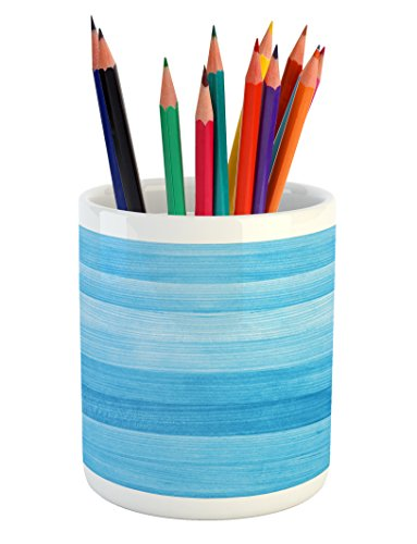 Pencil Pen Holder, Wooden Planks Painted Texture Image Oak Tree Surface Maple Pine Board Stripes, Printed Ceramic Pencil Pen Holder for Desk Office Accessory, Pale Blue ()