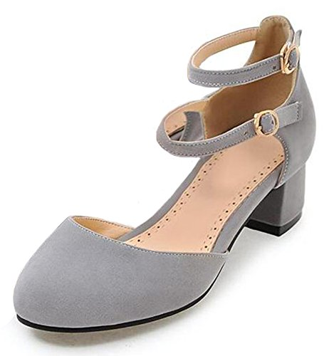 Easemax Womens Sweet Faux Suede Buckled Ankle Strap Round Toe Medium Block Heel Sandals Gray 6h5Nk8cQnD