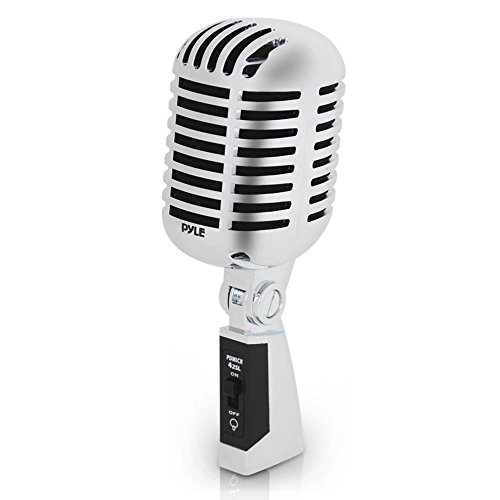 Classic Retro Dynamic Vocal Microphone - Old Vintage Style Unidirectional Cardioid Mic with XLR Cable - Universal Stand Compatible - Live Performance In Studio Recording - Pyle Pro PDMICR42SL (Silver)