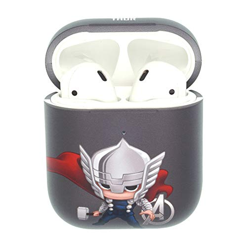 (Marvel Avengers AirPods Case Protective Hard PC Shell Cover [Front LED Visible] Accessories Compatible with Apple Airpods 1 & AirPods 2 - Mini Thor)