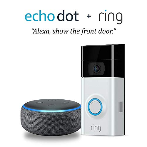 Echo Dot (3rd Gen) - Charcoal Fabric Bundle with Ring Video Doorbell 2