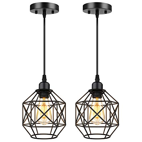 Pendant Lighting, Industrial Light Fixture, Retro Vintage Farmhouse Pendant Lights , Black Metal Cage Hanging Lights…