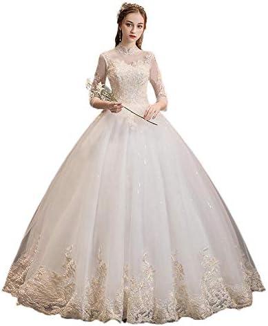 ZTIANEF Damenbekleidung Businesskleider Für Damen Brautkleider High Neck Ballkleid Spitze Applikationen 3/4 Ärmel Tüll Elegante Braut Brautkleider