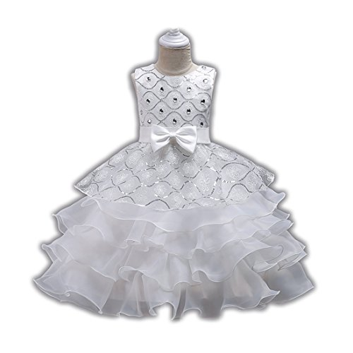 Girls Pageant Dress for Teen Girls Wedding Casual Gowns Age of 6 8 Dress for Little Girls 5-6T Prom Graduation Size 6-7 Girl Dresses Size 8 for Party Lace Tulle Gowns Birthday Beauty ( White 130 ) (For Weddings Dresses Teens For)