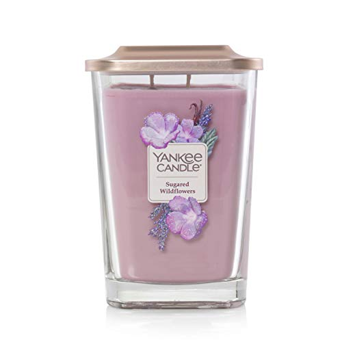 Yankee Candle Company Elevation Collection with Platform Lid, Large 2-Wick Square Candle | Sugared Wildflower