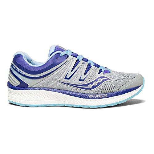 Saucony Women's Hurricane Iso 4 Running Shoe, Grey/Blue/Purple, 7.5 W US