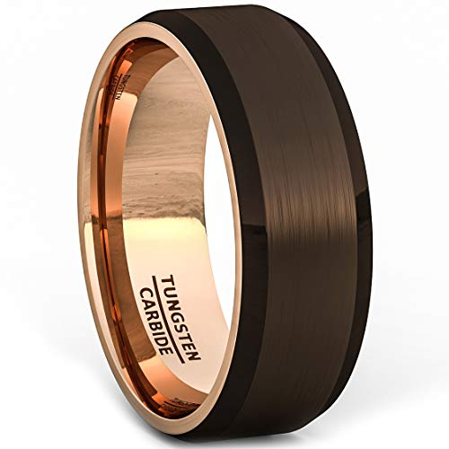 Duke Collections Mens Wedding Band Rare Brown Tungsten Ring Inside Rose Gold Beveled Edge Comfort Fit (10) ()