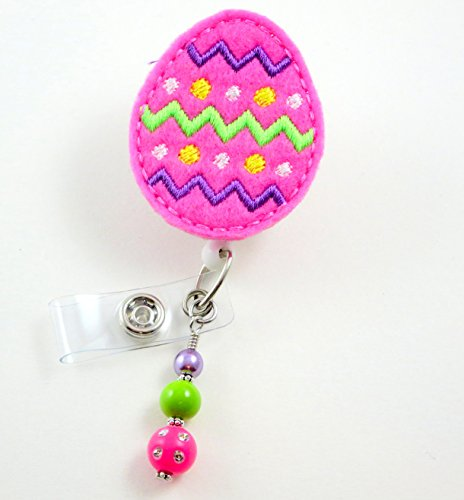 Easter Egg Pink Zigzag - Nurse Badge Reel- Retractable ID Badge Holder - Nurse Badge - Badge Clip - Badge Reels - Pediatric - RN - Name Badge Holder