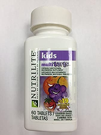 NUTRILITE? Kids MultiTarts Chewable Multivitamin/Multimineral 60 tablets,3 Flavors: Strawberry-
