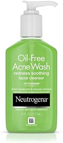 Neutrogena Oil-Free Acne and Redness Facial Cleanser, Soothing Face Wash with Salicylic Acid Acne Medicine, Aloe, and Chamomile to Reduce Facial.   ⭐️ Exclusive