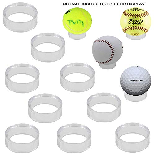 Baseball Stand Display, Ball Holder, 10 Pack, Clear, 1-1/2 inch, Acrylic, Sphere, Balls Case, for Golf Ball, Tennis, Softballs and Marble Eggs, Round Pedestal Rack, Beveled Ring - no Ball