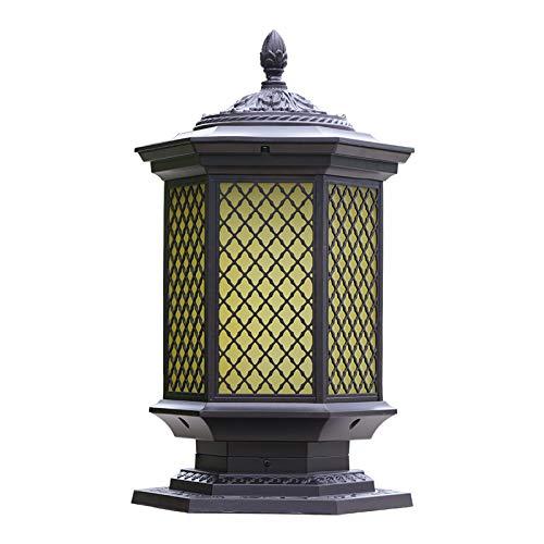 HDMY Luce esterna in alluminio puro lampada a colonna cinese reticolo reticolo luce europea piazza pilastro luce villa giardino luce cancello post light (Dimensione   M)