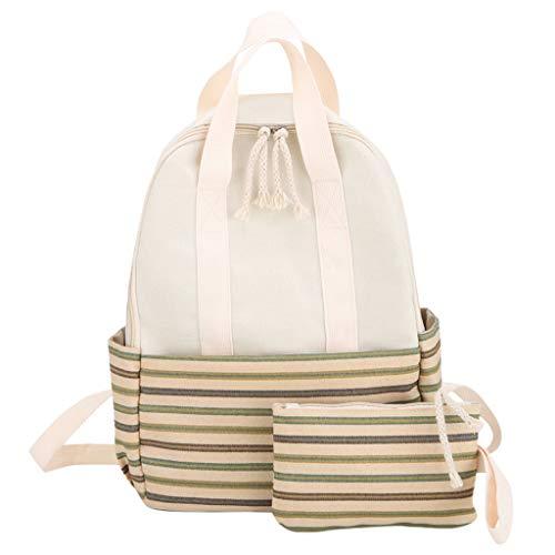 Woman Trendy Fresh Stripe Backpack Ladies Large Capacity Campus Style Backpack School Bag for Girls Kids Boys Women Men