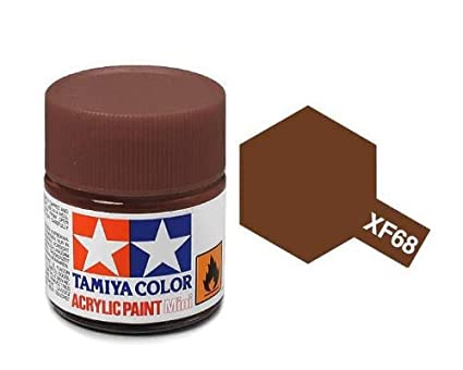 Tamiya - Pintura acrílica mini, marron nato XF68 (Tamiya 81768)