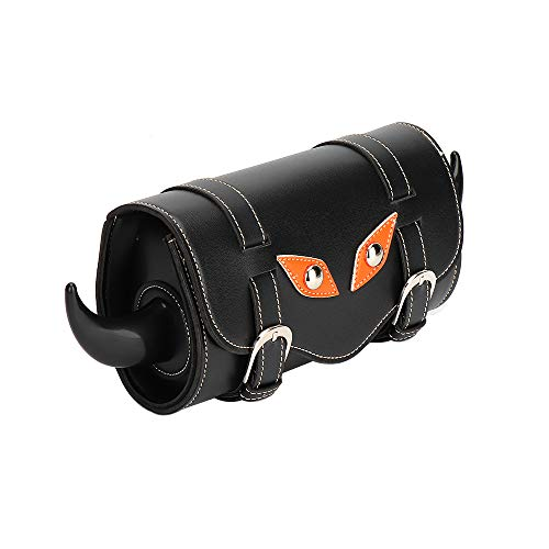 KEMiMOTO Motorcycle Scooter Handlebar Bag Front Forks Tool Bag Pouch Roll Barrel Shape PU Leather -