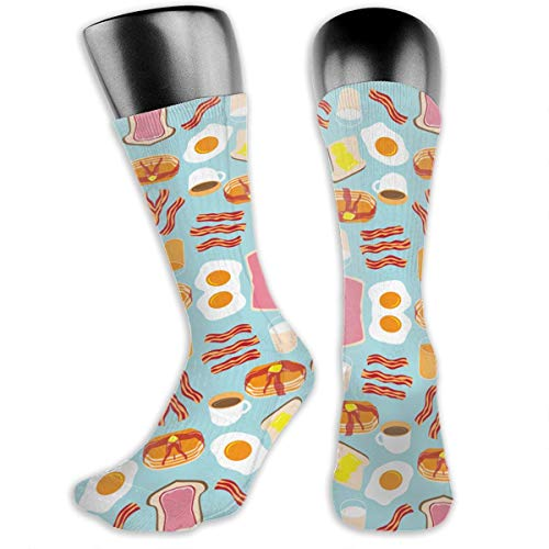 TLDRZD Unisex Crazy Fun Cool Funny Breakfast Food Print Colorful Athletic Sport Novelty Crew Tube Socks