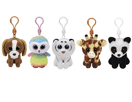 Ty Stuffed Animals Beanie Boo 5 Clips Keychains Plush Toys Bundle Set With ONE BONUS Animal Puzzle Eraser