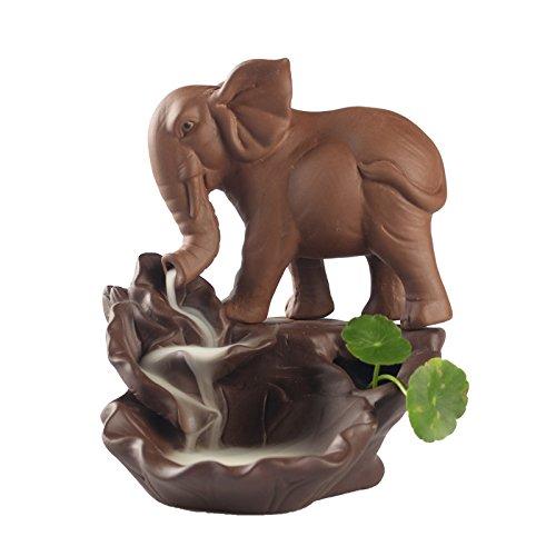 Maymii•Home Zen Garden Feng Shui Lucky Purple Sand Elephant Incense Holder Backflow Incense Burner Incense Cones Stick Holder, Ideal for Yoga Room, Home Office Decor Gift