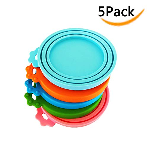DYBEN Pet Can Covers/Dog Food Can Lids/5 Pack/Universal BPA Free/Silicone Pet Food Can Lids Covers/Fits 3 Standard Size Can Tops Pet Food Storage/Keep Fresh Pet Food for Dogs and Cats