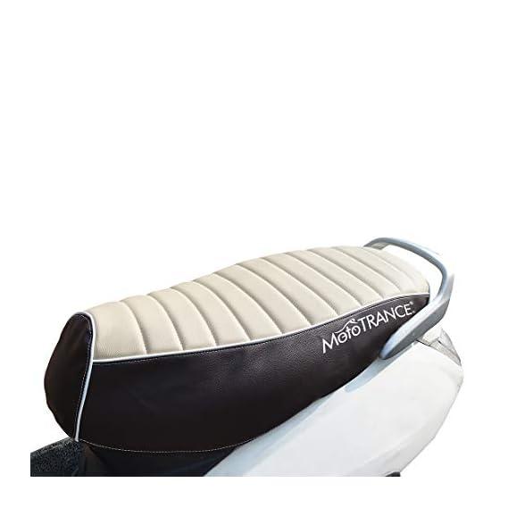 Mototrance PU Leather Designer Bike Scooter Seat Cover (MTSC-301-BEBR) for Honda Activa 3G -Beige Brown