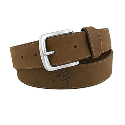(ZEP-PRO NCAA Georgia Bulldogs Crazyhorse Leather Bulldog Embossed Belt-Light Brown-40 )