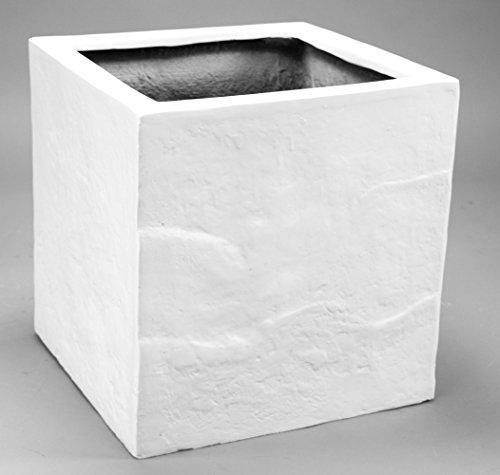 Blumenkübel Fiberglas Stein-Optik quadratisch 50x50x50cm perlmutt weiß.