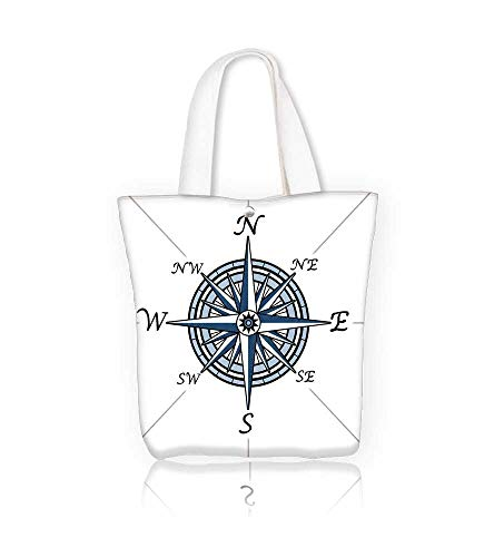 Canvas Beach Bags Compass rose on white representing a c ography positioning direction symbol for navigation Totes for Women Zippered Beach Shoulder Bag W22xH15.7xD7 INCH