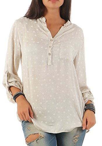 malito Blusa en Diseño Estrella en V-Recorte 6365 Mujer Talla Única Beige