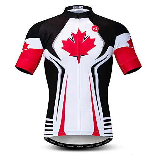 Weimomonkey Men's Cycling Jerseys Tops Biking Shirts Short Sleeve Full Zipper Bike Clothing Canada White M