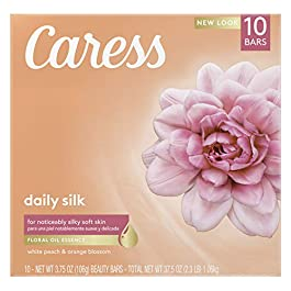 Caress Bar Soap for Silky, Soft Skin Daily Silk with Floral Fusion Oil 3.75 oz 10 Bars