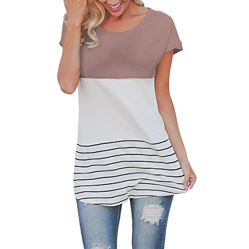 Cowear Women's Stripe Color Block Back Lace Tops Short Sleeve T Shirts - Junior Small Size