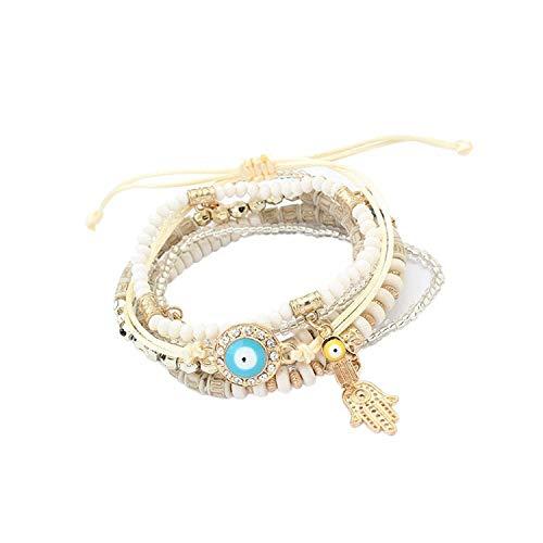 Welcometoo Bohemian Beads Multi Strand Hamsa Hand Evil Eye Charms Stretch Bracelet Set (bl003164)