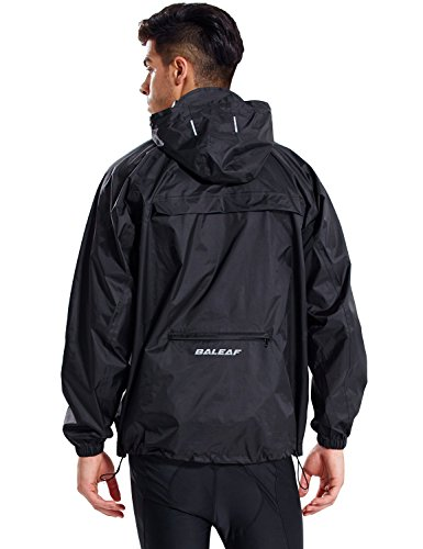 Baleaf Unisex Packable Outdoor Waterproof Rain Jacket Hooded Raincoat Poncho Black Size M