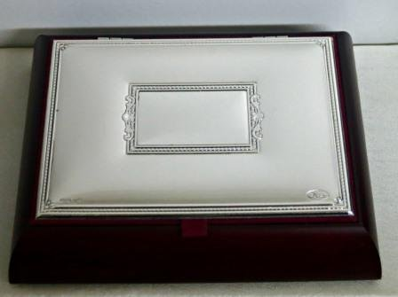 - Mahogany Wooden Jewelry Storage Box with Silver Lid