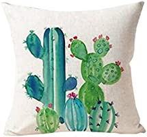 Polytree Linen Succulent Cactus Pattern Pillowcase Cushion Cover Home Sofa Decor,45cm x 45cm