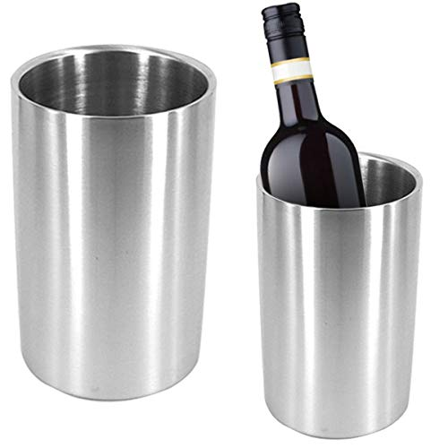 Yuehuam Wine Chiller,Double Wall Insulated Wine Chiller Iceless Wine Cooler Champagne Bucket Stainless Steel
