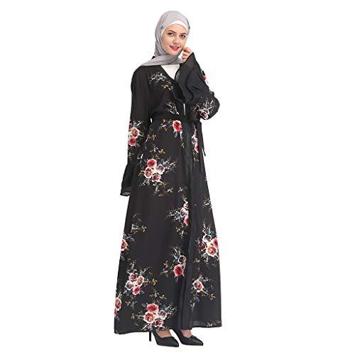 Women Muslim Cardigan Flowy Open Front Abaya Maxi Cover up Bell Sleeve Kaftan Kimono Loose Robes Nightwear Black (Or Egyptian Turkish Cotton)