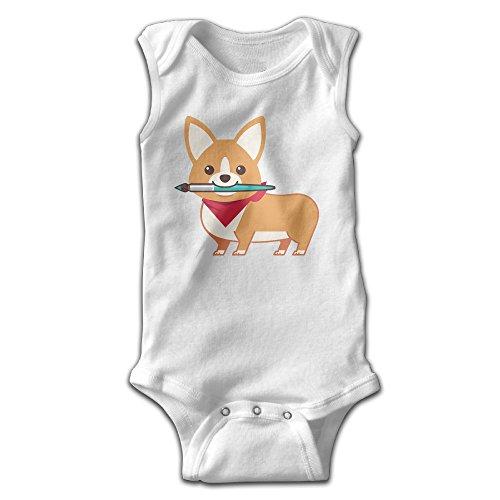 Milkman's Baby Costume (YiYa Infants Boy's & Girl's Welsh Corgi Short Sleeve Bodysuit Baby Onesie For 0-24 Months White 6 M)