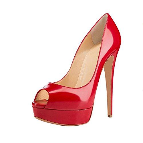 High Toe Shoes Peep LIGHTBACK Heels Pumps Platform Leather Womens Stiletto Red zE7nwxqI
