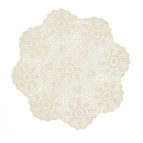 (kilofly Handmade Crochet Cotton Lace Table Sofa Doily, Waterlily, Beige, 34 inch)