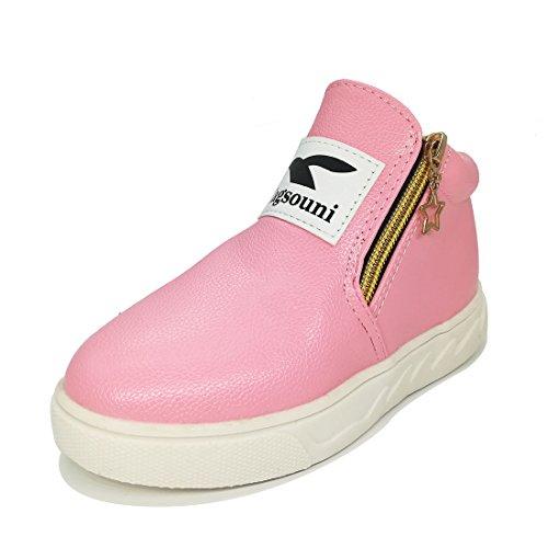 Eagsouni® Mädchen Jungen Martin Stiefel Kinder Kurz Stiefeletten Freizeit Flache Schuhe Pink