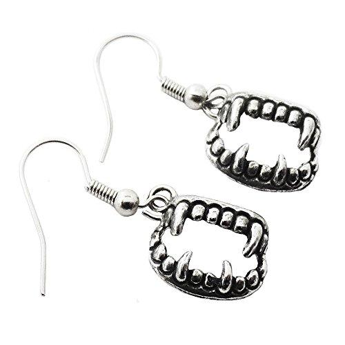 Silver Vampire Teeth Dangle Earrings ()