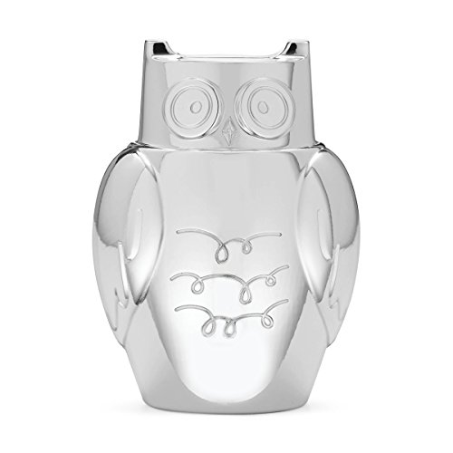 kate spade new york Small World Owl Baby Piggy Bank, Silver-Plate