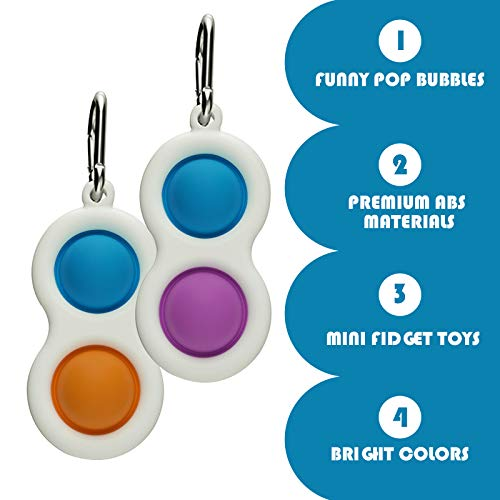 hirsrian Simple Dimple Fidget Toys, Silicone Flipping Board, Stress Relief Sensory Hand Toy 2 Pack Decompression bubble Keychain Brain Development Color Concentration for Kids Adults