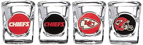 - NFL Kansas City Chiefs Four Piece Square Shot Glass Set (Individual Logos)
