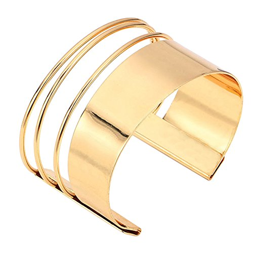 MXYZB Stainless Steel Smooth Hollow Hoop Open Ended Wide Cuff Bangle Bracelet (Gold)