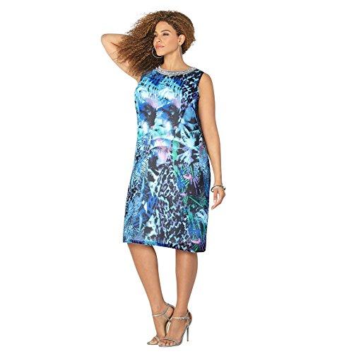 Avenue Women's Bejeweled Chiffon Tropical Animal Print Dress, 14/16 Multi Color