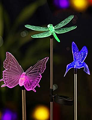 Bright ZEA LED Solar Garden Stake Lights with Vivid Life-Size Figurines - Color Changing Solar Lights Outdoor - Solar Garden Lights Patio & Garden Decor